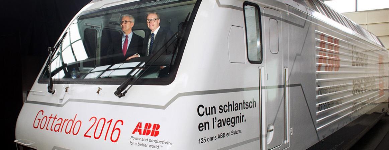 «На пути к будущему» - локомотив компании SBB под брендом АББ на открытии Готардского Базисного тоннеля